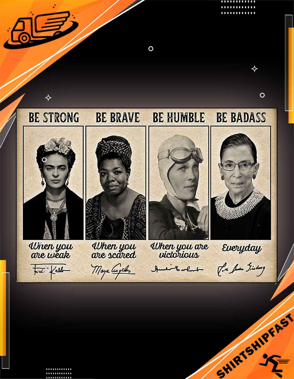 Poster Famous feminists be strong be brave be humble be badass signature - Picture 1