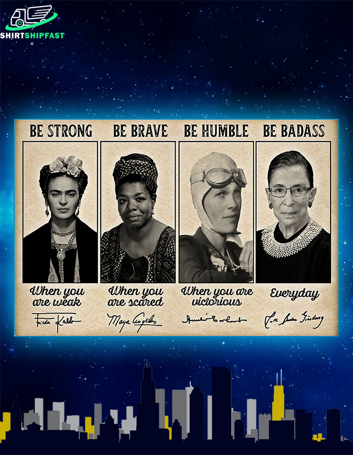 Poster Famous feminists be strong be brave be humble be badass signature - Picture 2