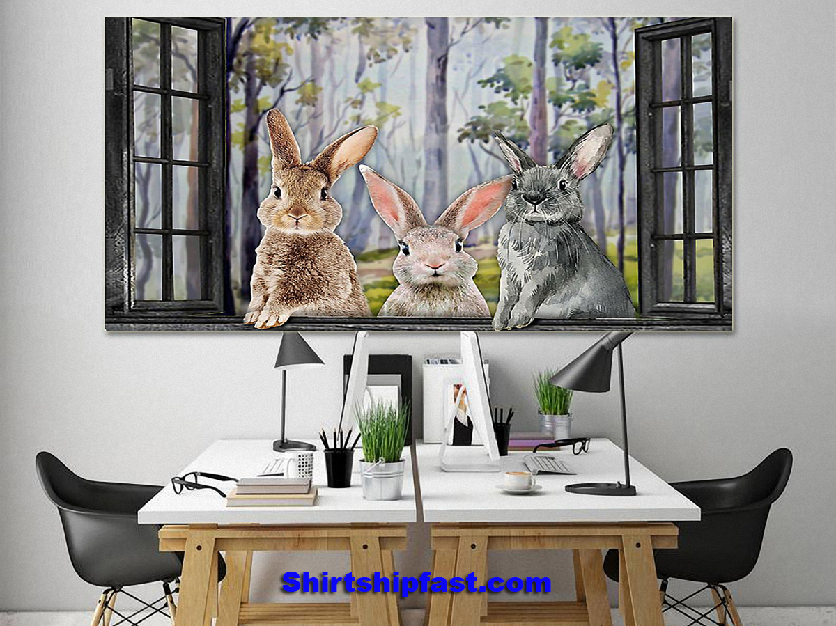 Poster Three rabbits by the window - Picture 1