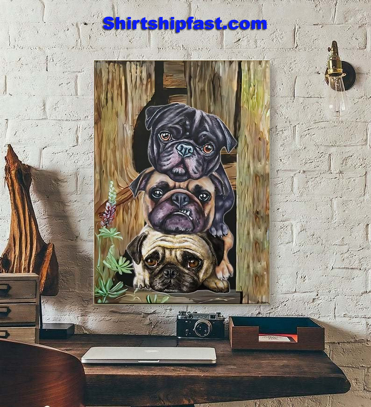Pug dogs canvas - Picture 1