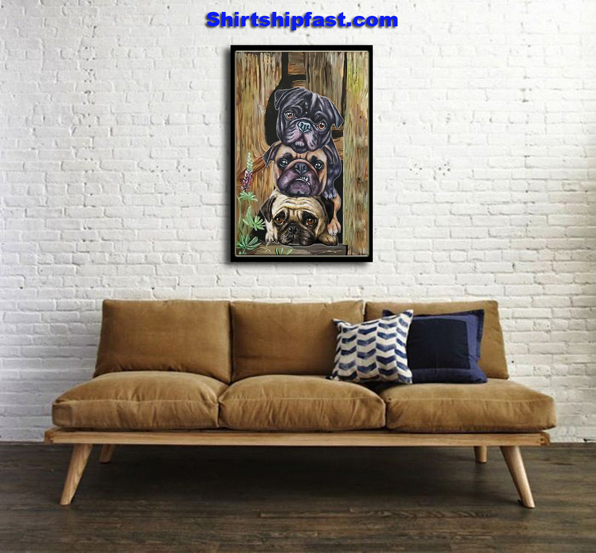 Pug dogs canvas - Picture 2