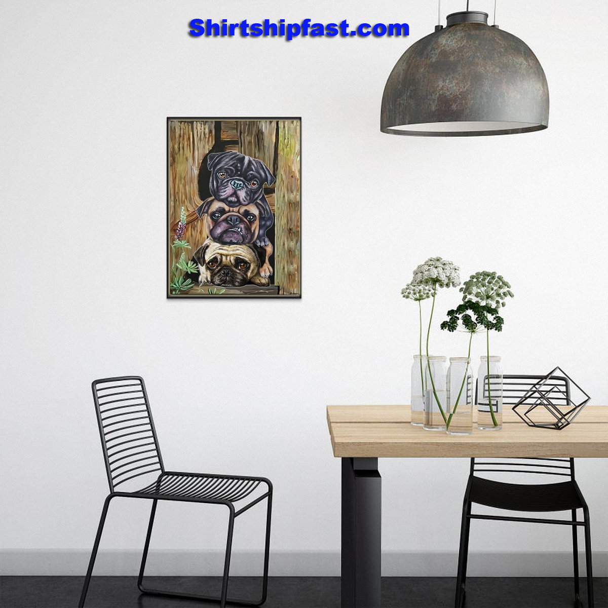 Pug dogs canvas - Picture 3