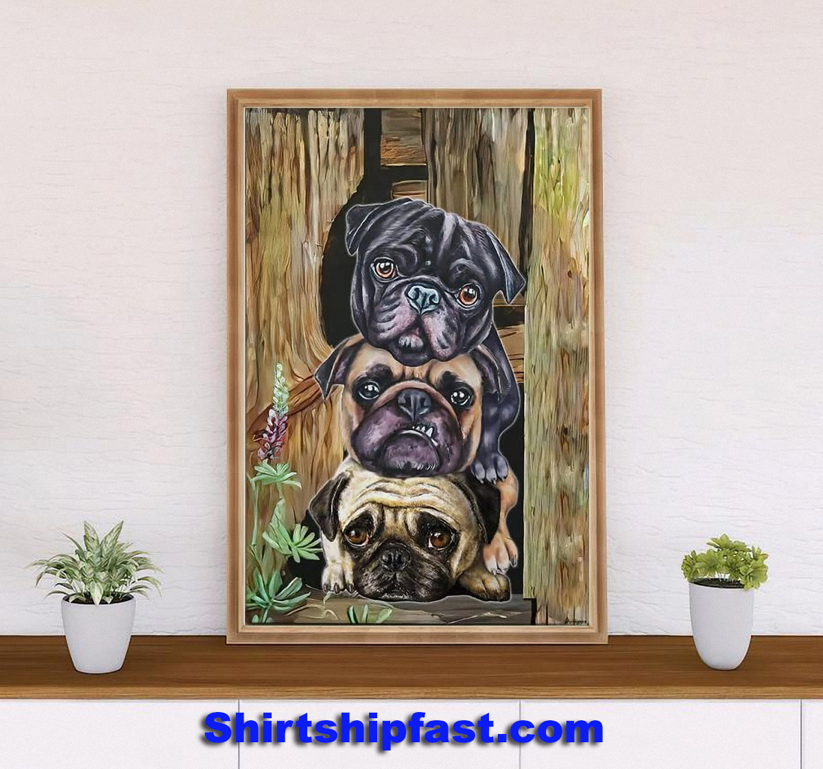 Pug dogs canvas wall art - Picture 1