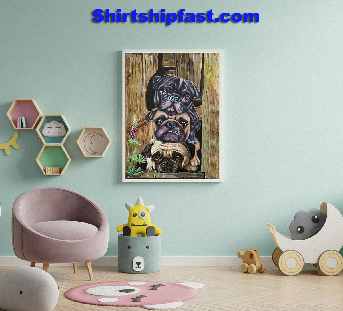 Pug dogs canvas wall art - Picture 2