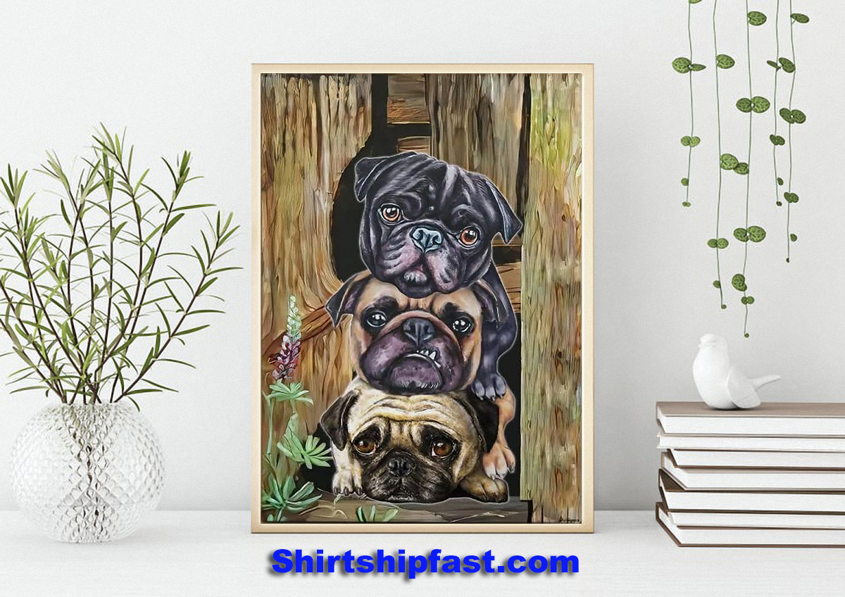 Pug dogs canvas wall art - Picture 3
