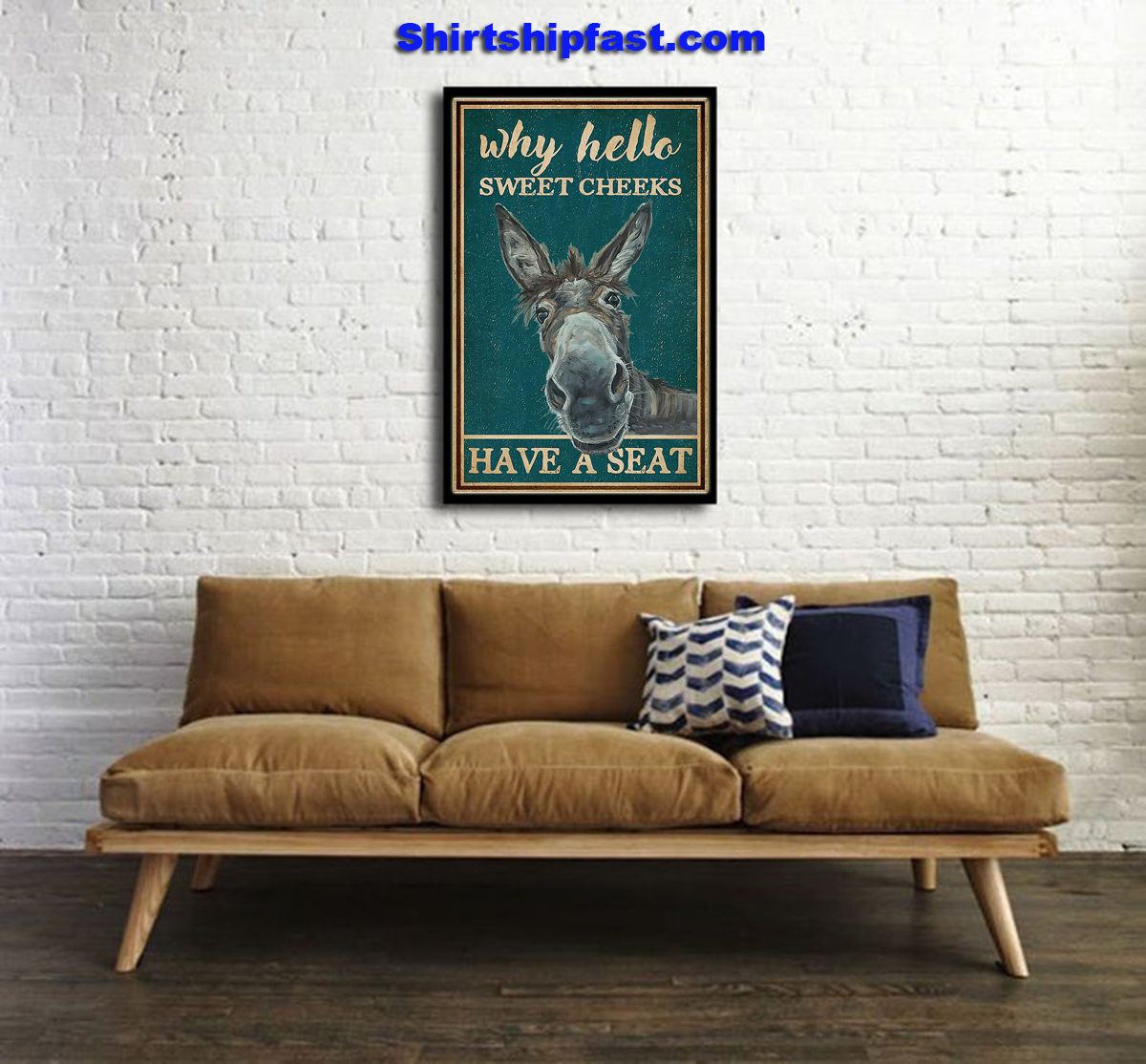 Retro teal donkey why hello sweet cheeks poster - Picture 1