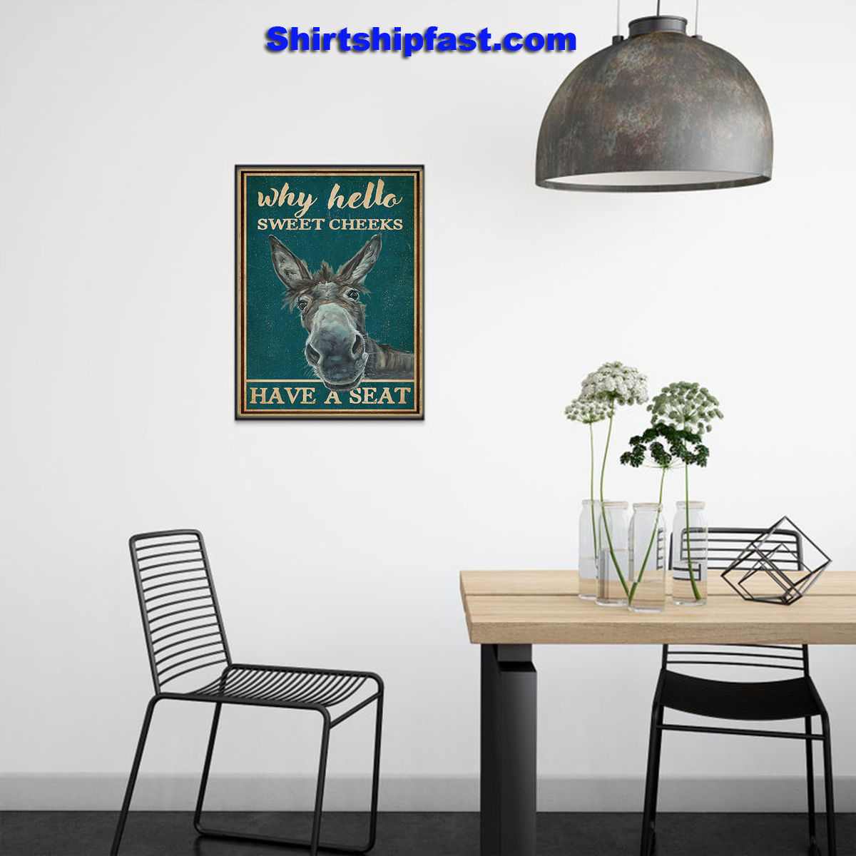 Retro teal donkey why hello sweet cheeks poster - Picture 2