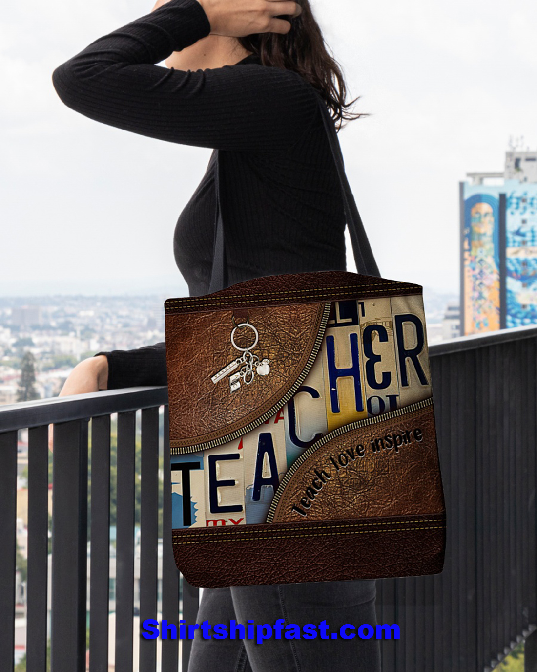 Teacher teach love inspire all over tote bag - Picture 1