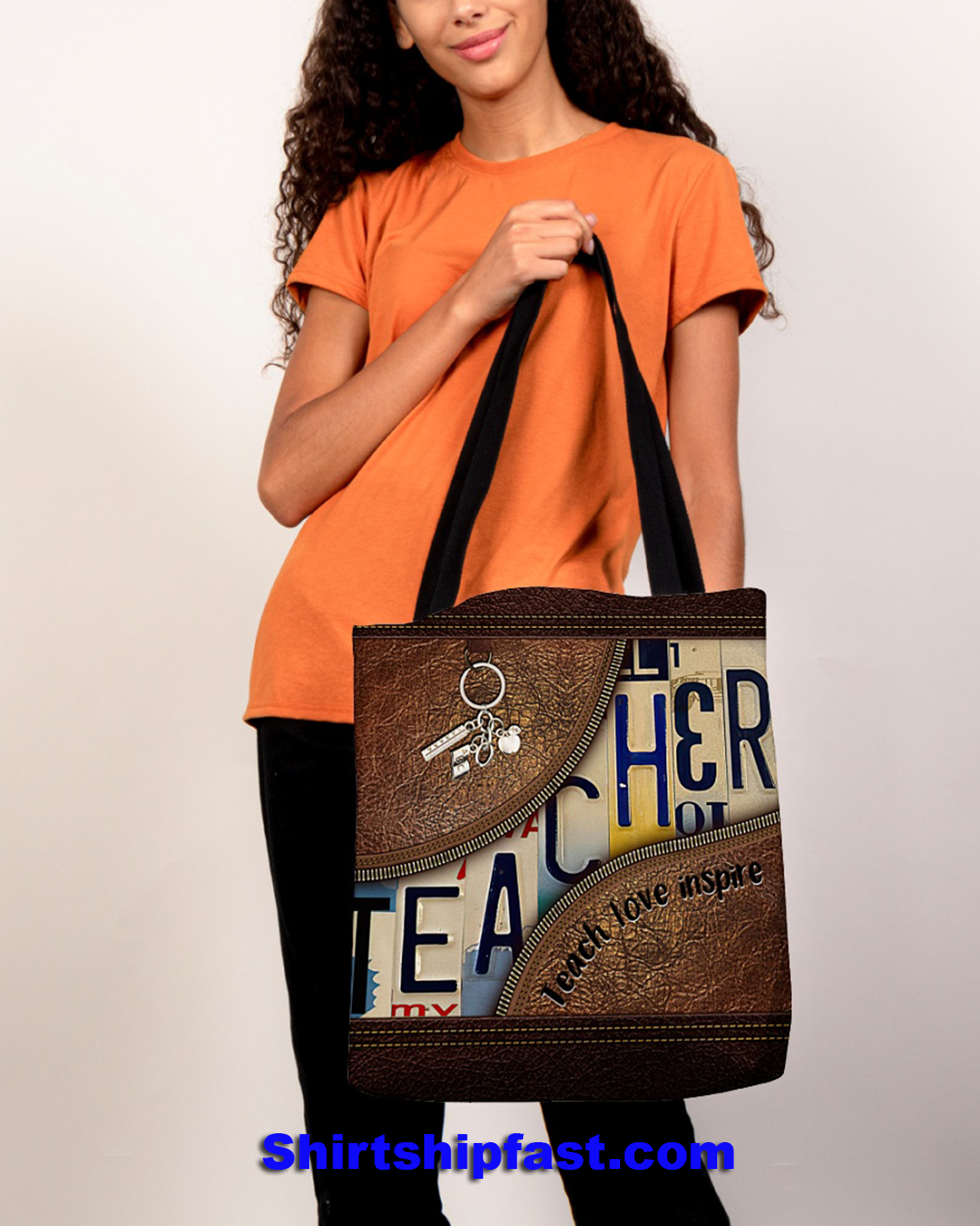 Teacher teach love inspire all over tote bag - Picture 2