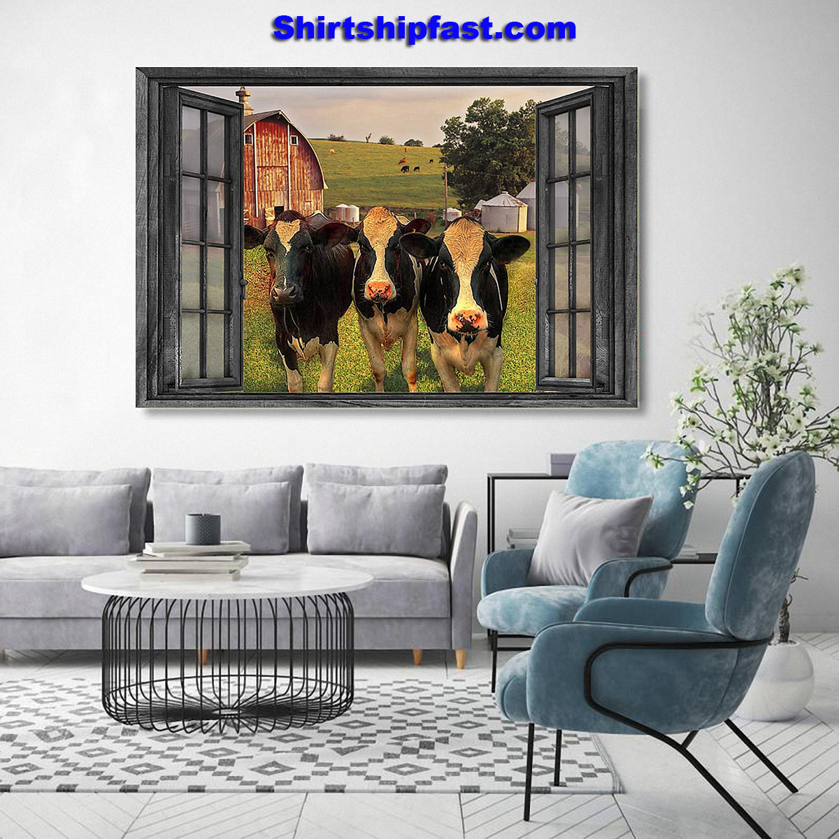 The cows on farm out side the window poster - Picture 1