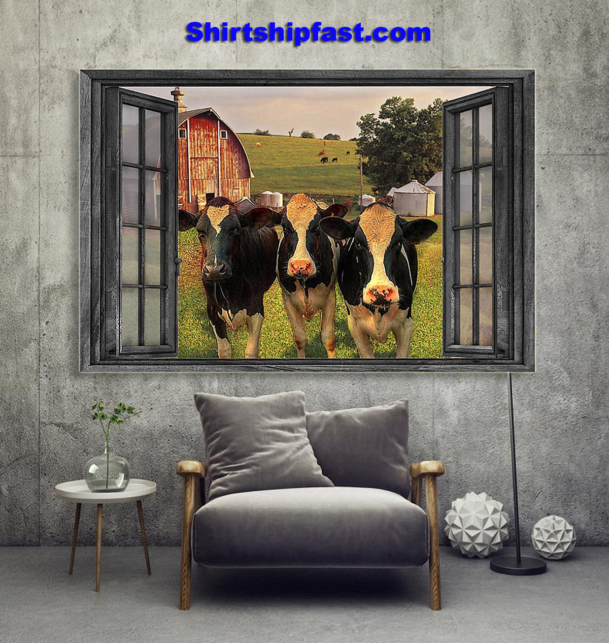 The cows on farm out side the window poster - Picture 2