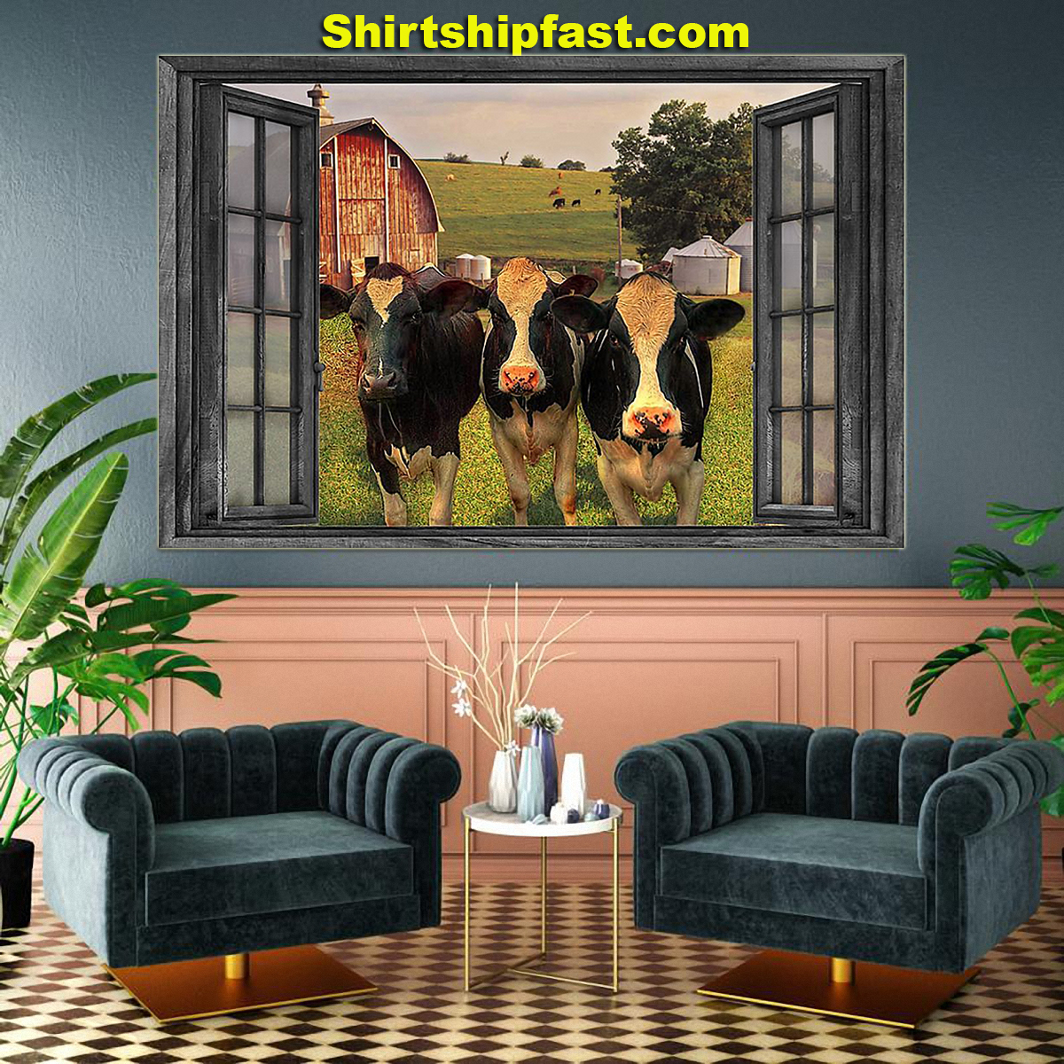 The cows on farm out side the window poster - Picture 3