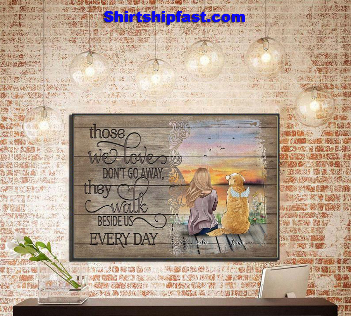 Those we love don't go away they walk beside us every day personalized poster - Picture 3