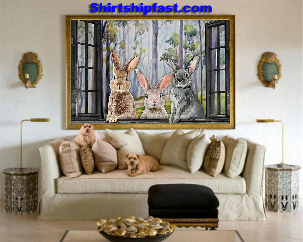 Three rabbits by the window poster - Picture 1