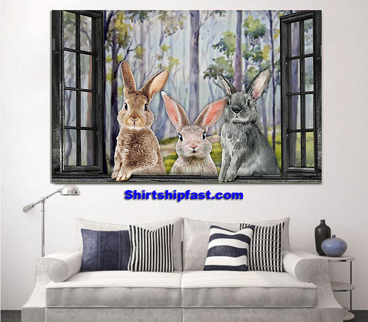 Three rabbits by the window poster - Picture 3