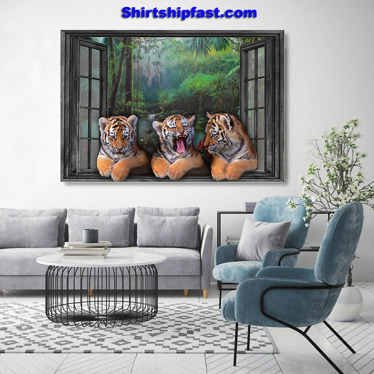 Three tigers by the window poster - Picture 1