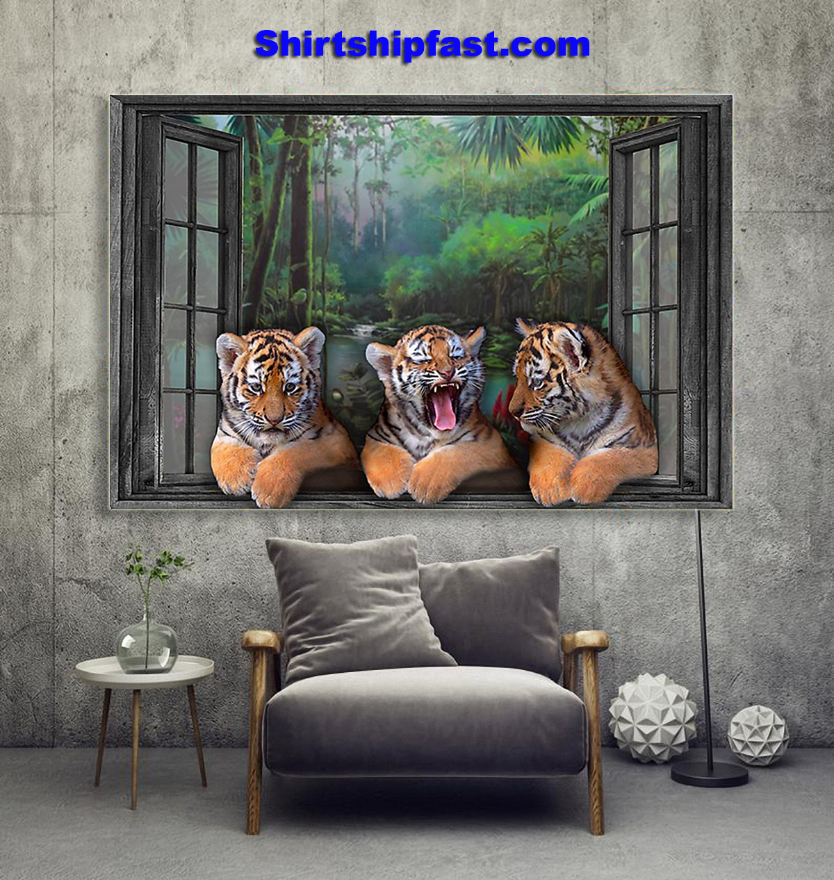 Three tigers by the window poster - Picture 2