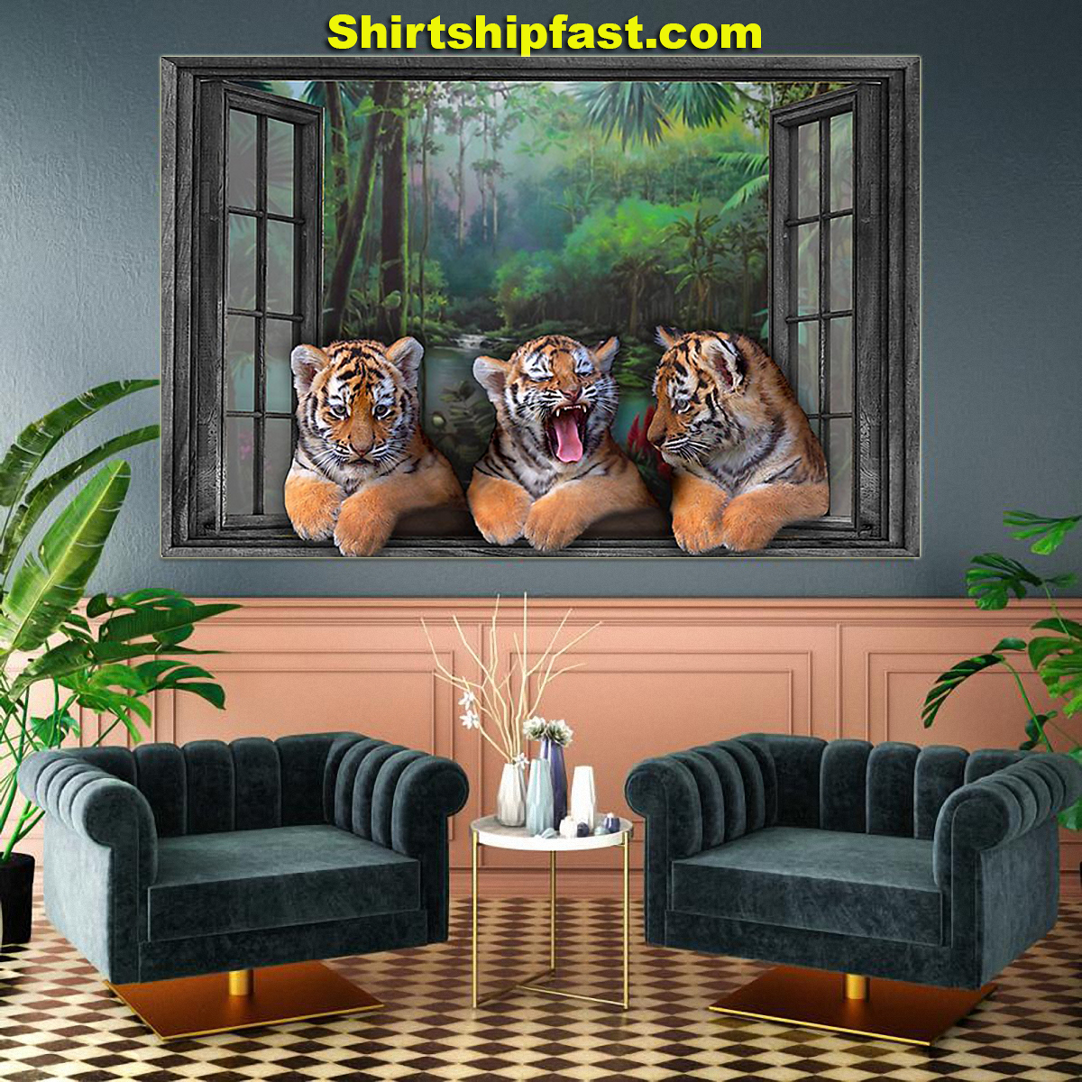 Three tigers by the window poster - Picture 3