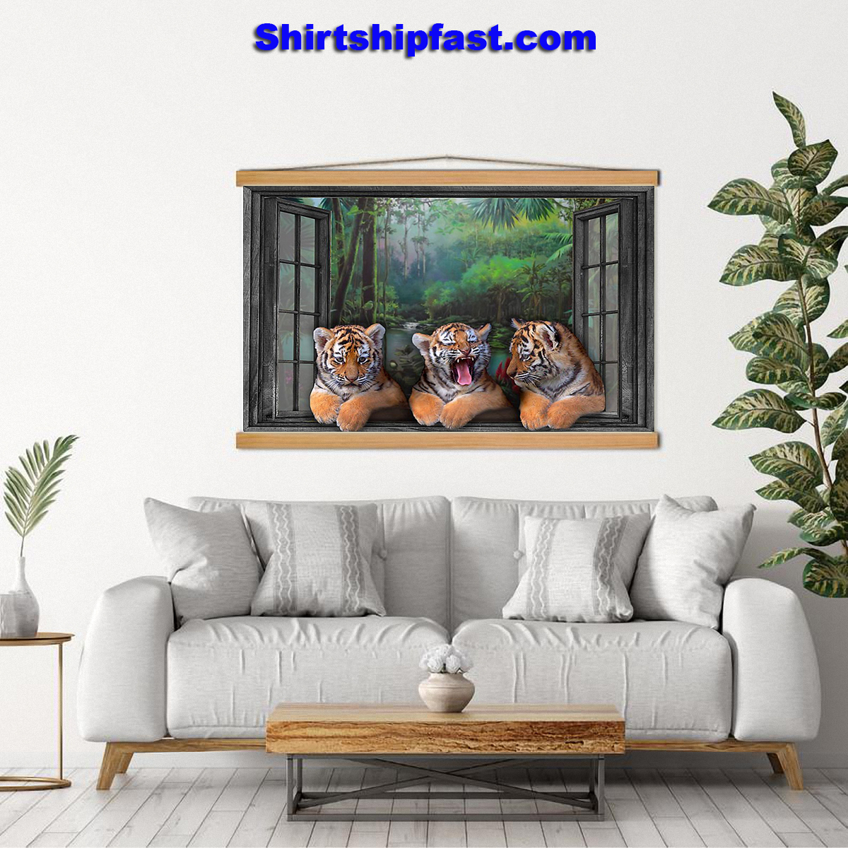 Three tigers by the window poster