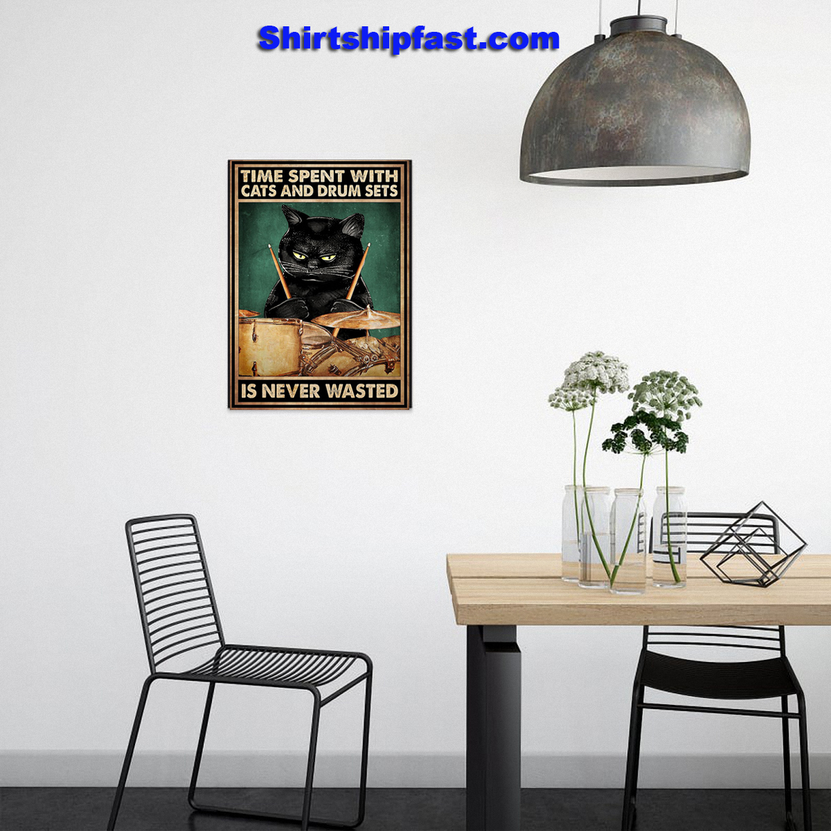 Time spent with cats and drum sets is never wasted poster