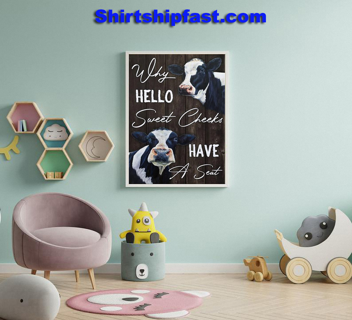 Why hello sweet cheeks have a seat dairy cattle canvas wall art - Picture 3