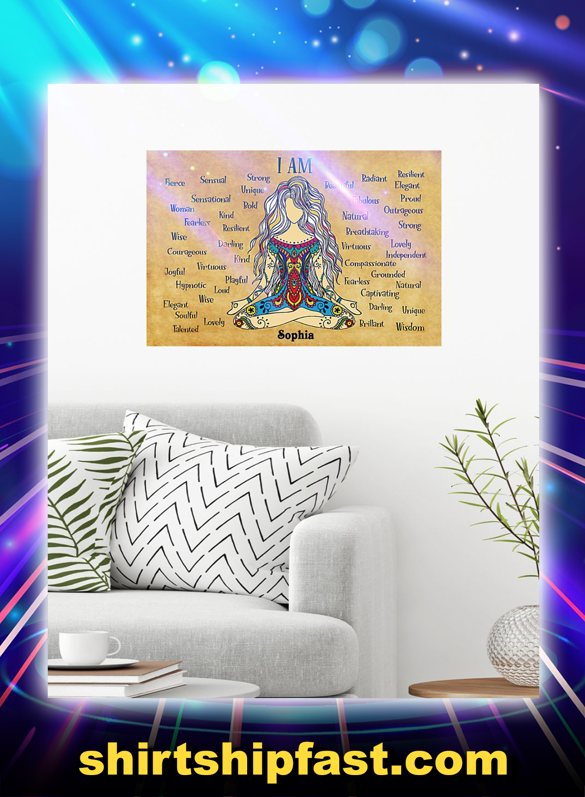 Yoga I am custom name poster - Picture 1