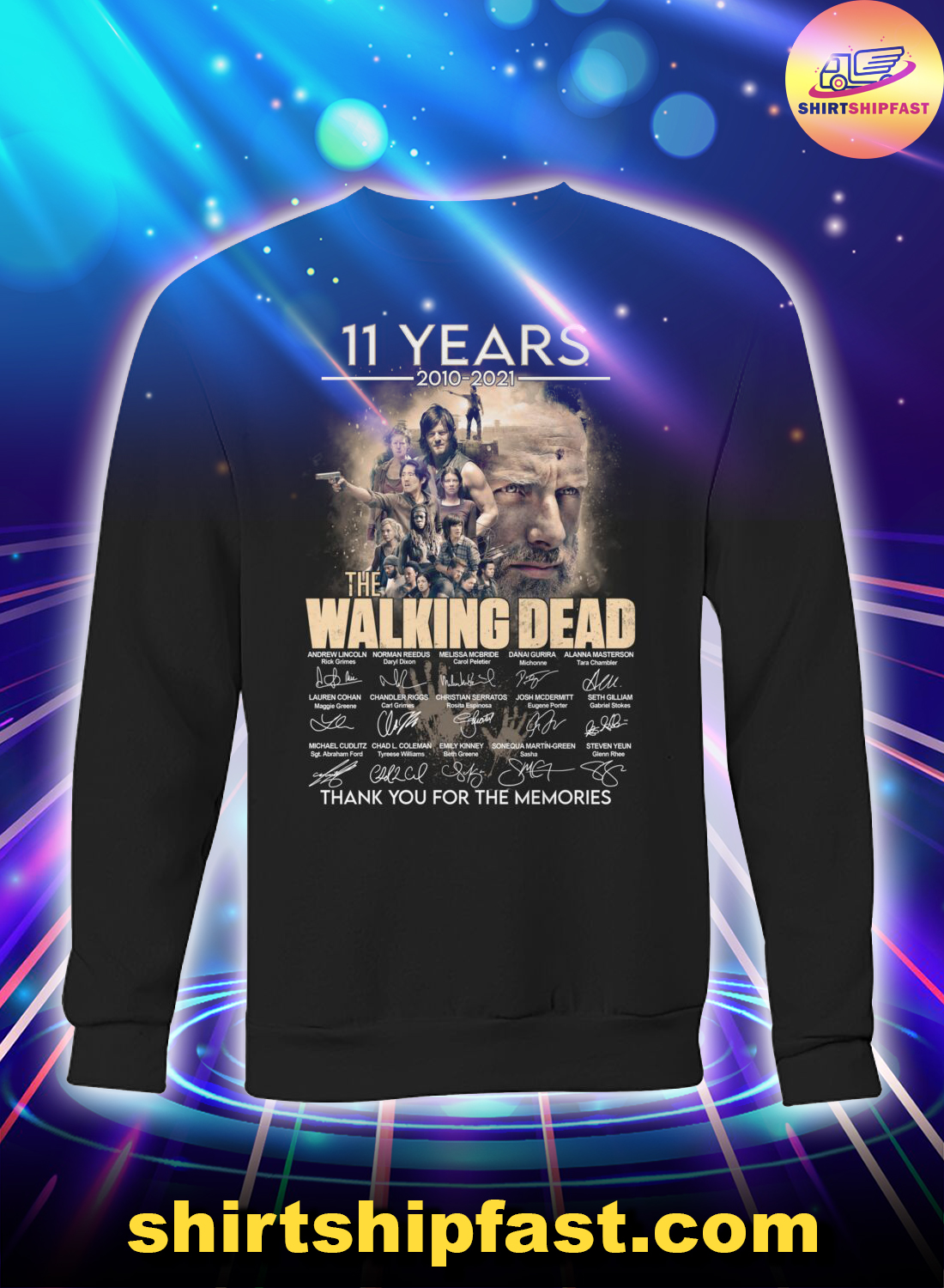 11 years The walking dead signature thank you for the memories sweatshirt