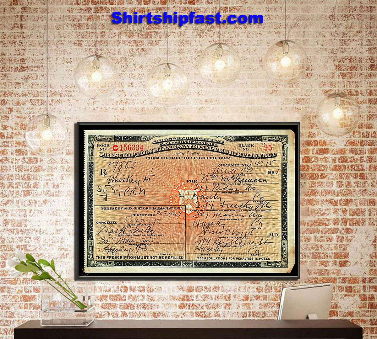 1924 prescription for whiskey during prohibition poster - Picture 3