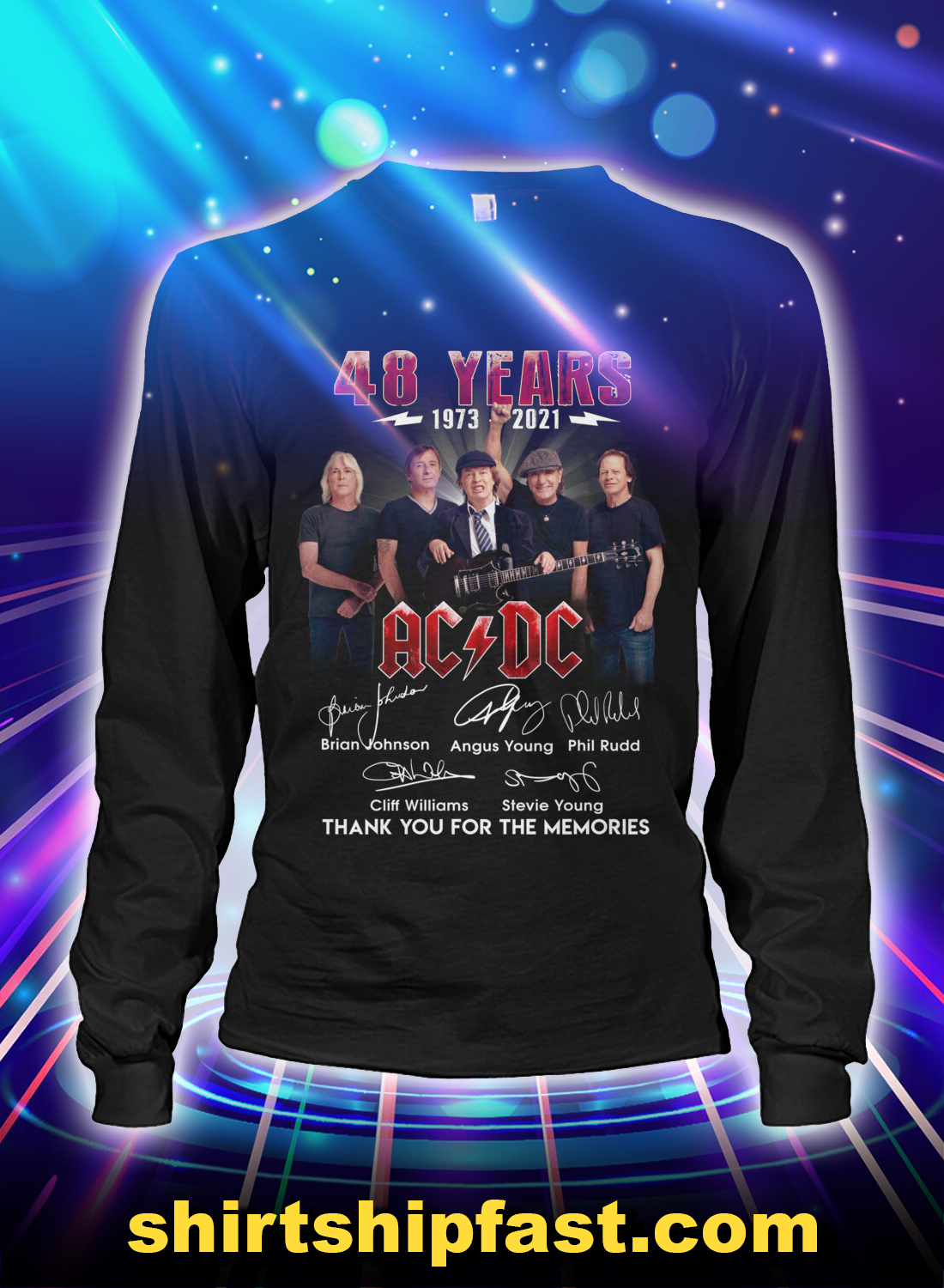 48 years AC DC signature thank you for the memories long sleeve tee