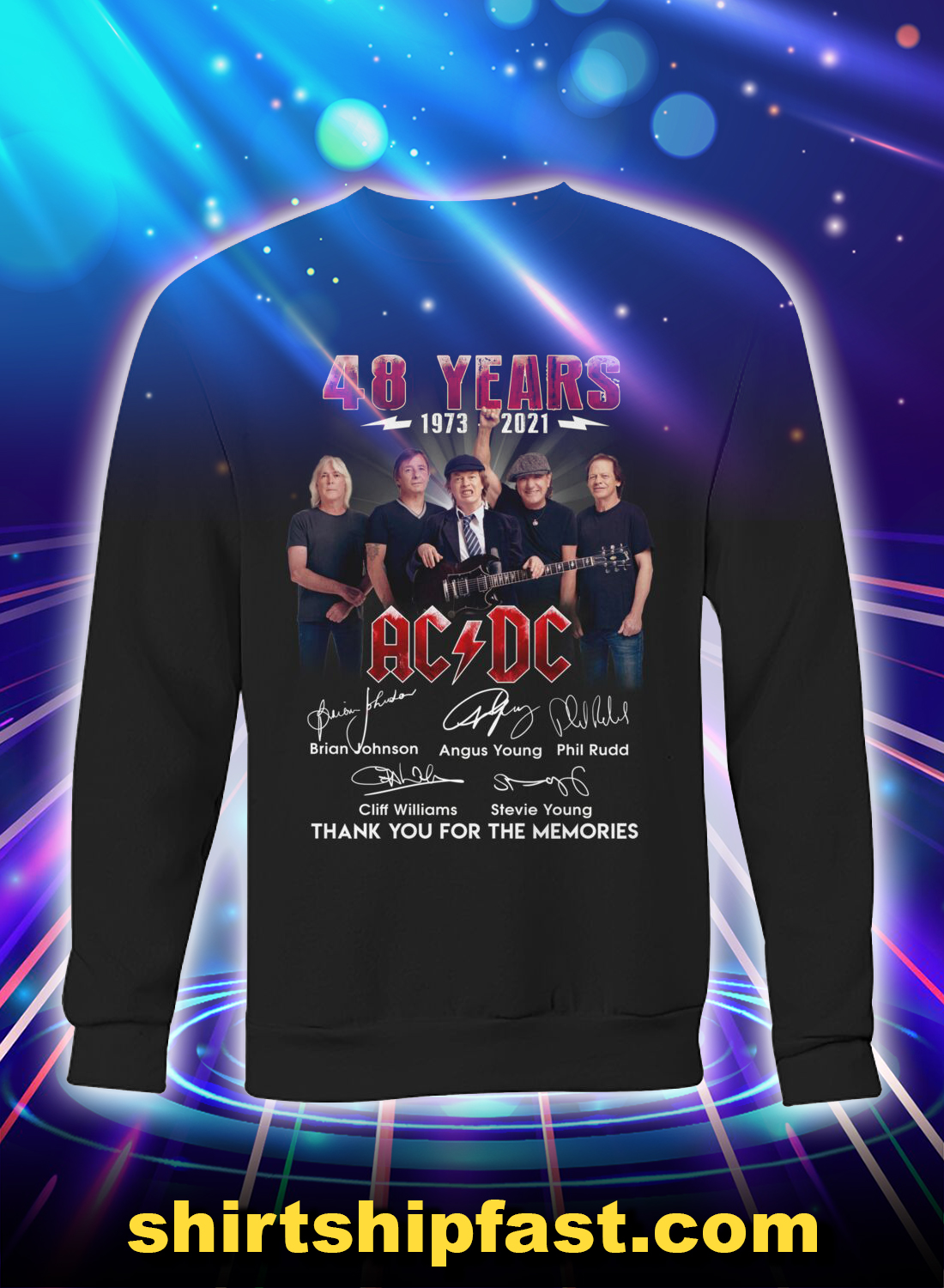 48 years AC DC signature thank you for the memories sweatshirt