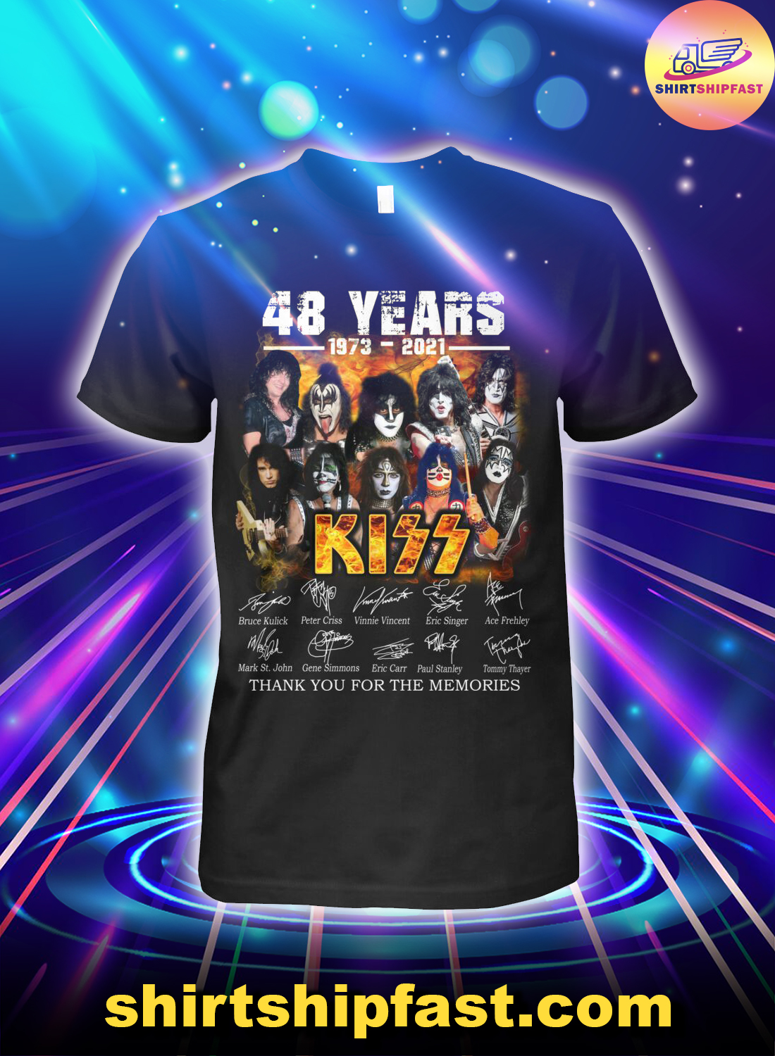 48 years Kiss signature thank you for the memories shirt