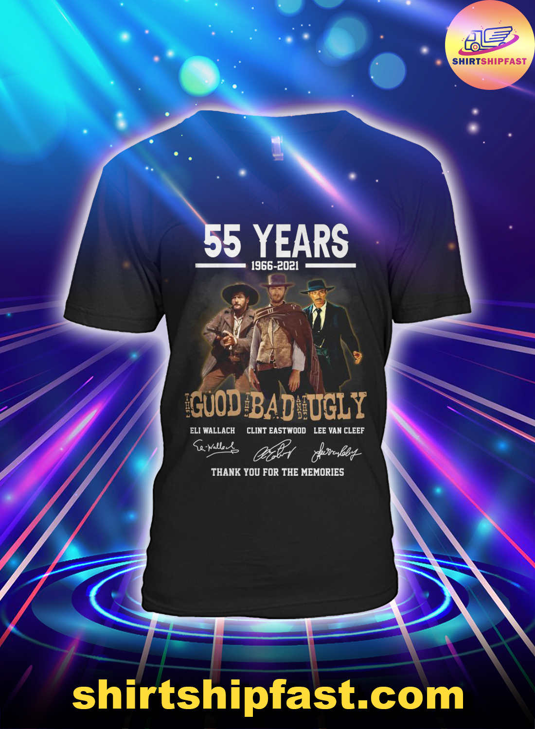 55 years the good the bad and the ugly signature v-neck