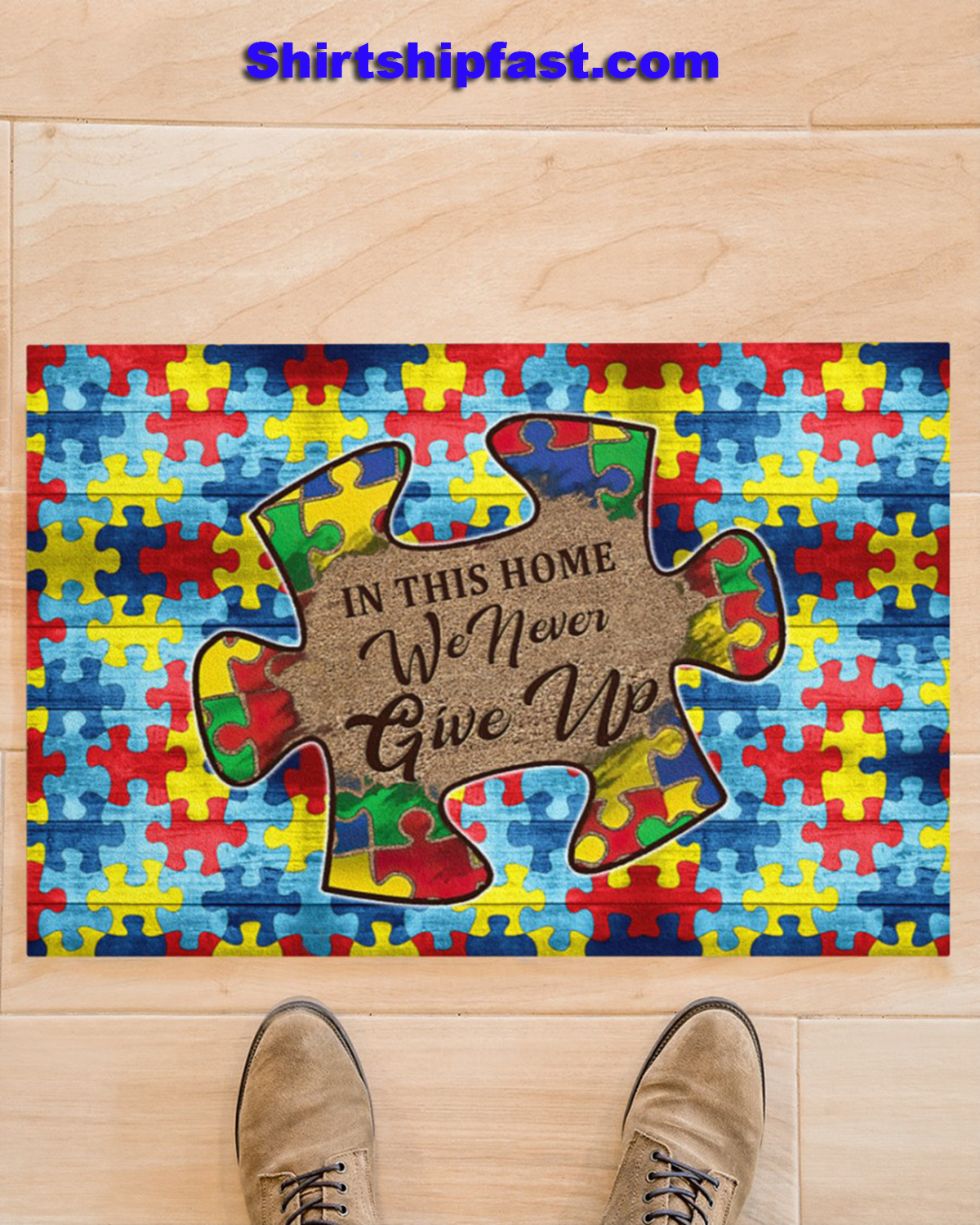 Autism In this home we never give up doormat - Picture 1