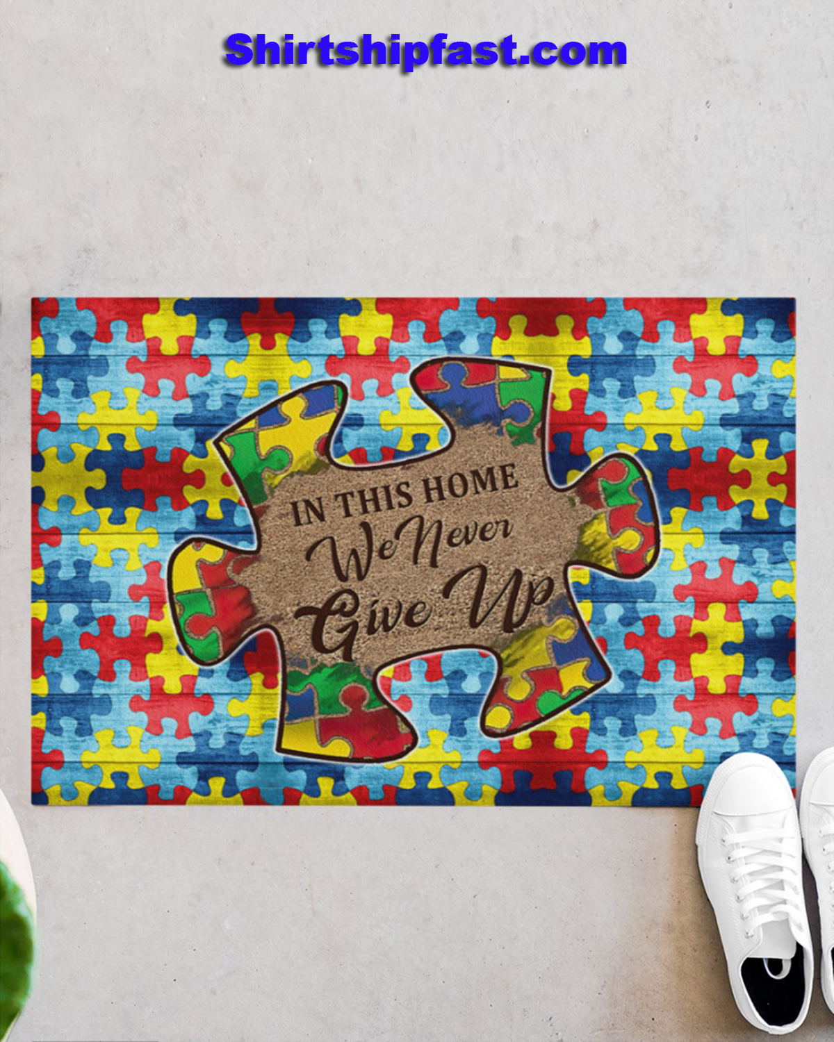 Autism In this home we never give up doormat - Picture 2