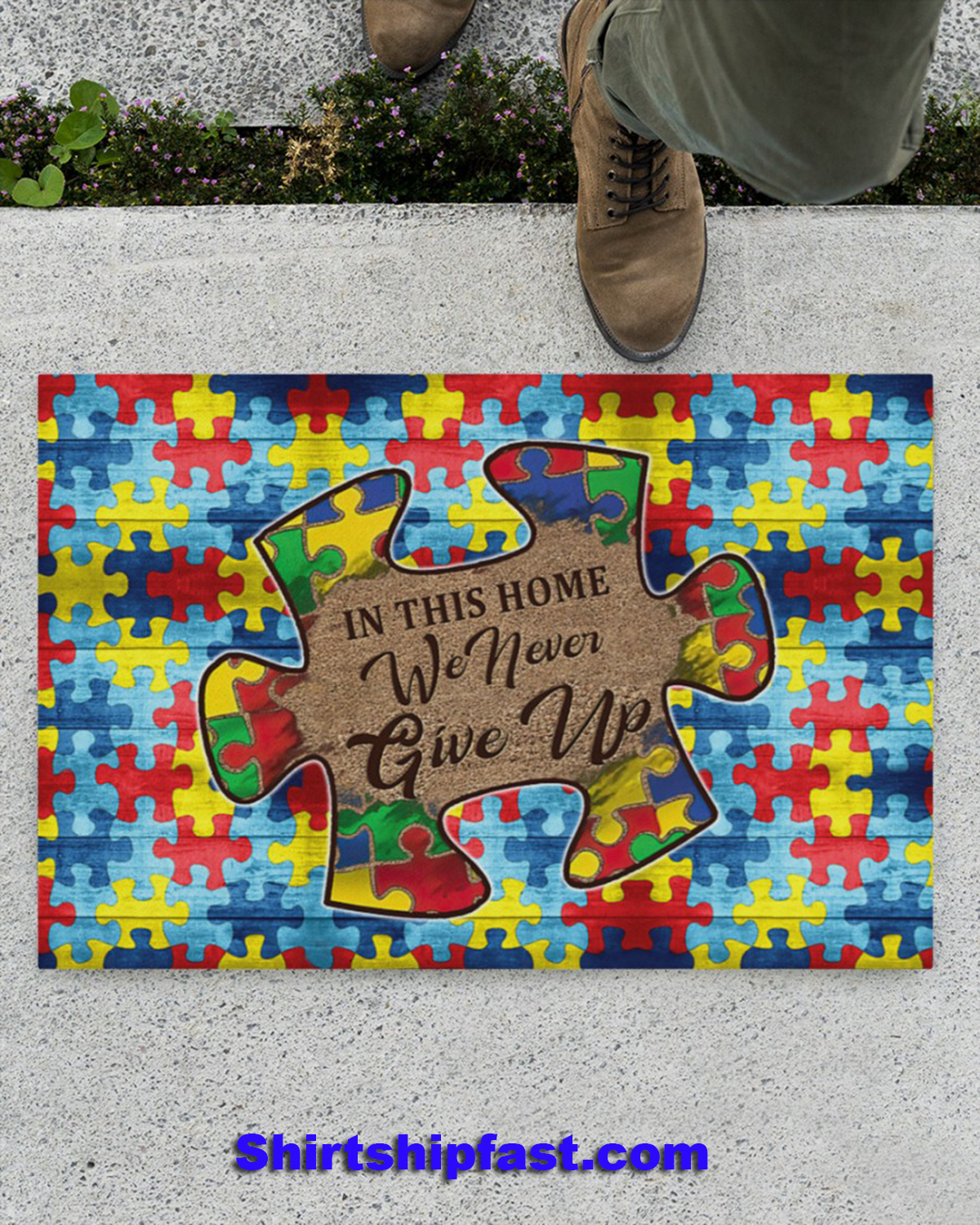 Autism In this home we never give up doormat