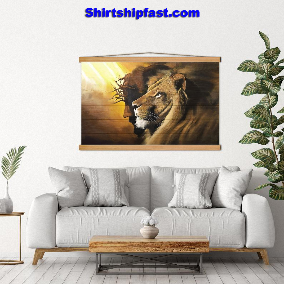 Awesome lion and god canvas prints