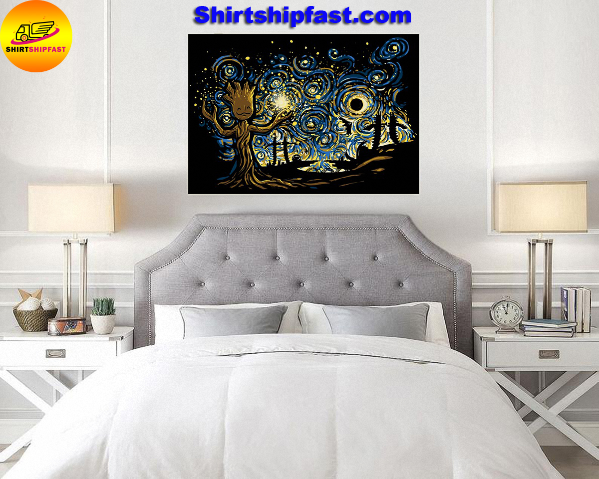 Baby groot starry night poster - Picture 1