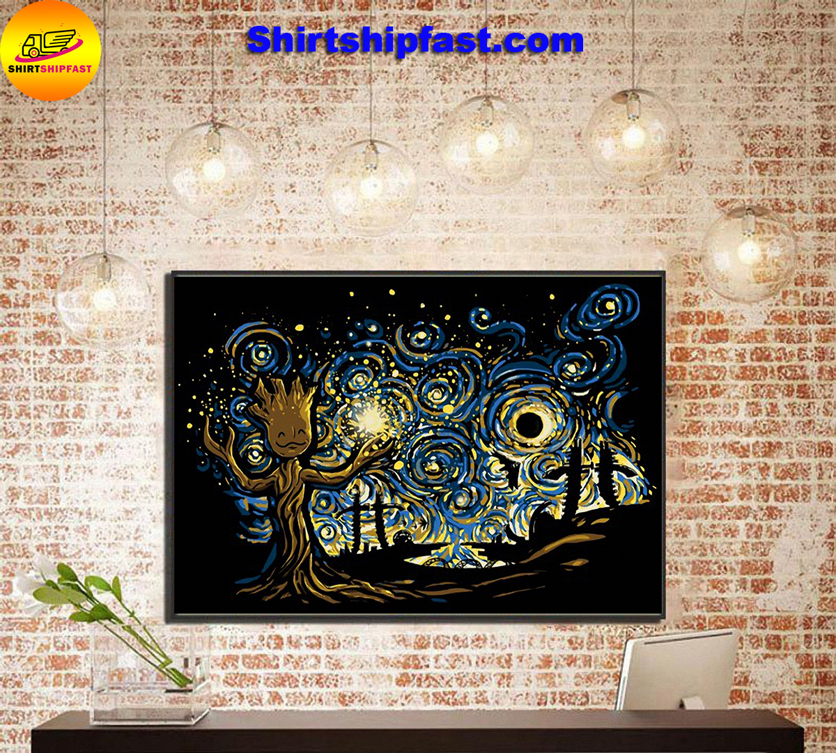 Baby groot starry night poster - Picture 2
