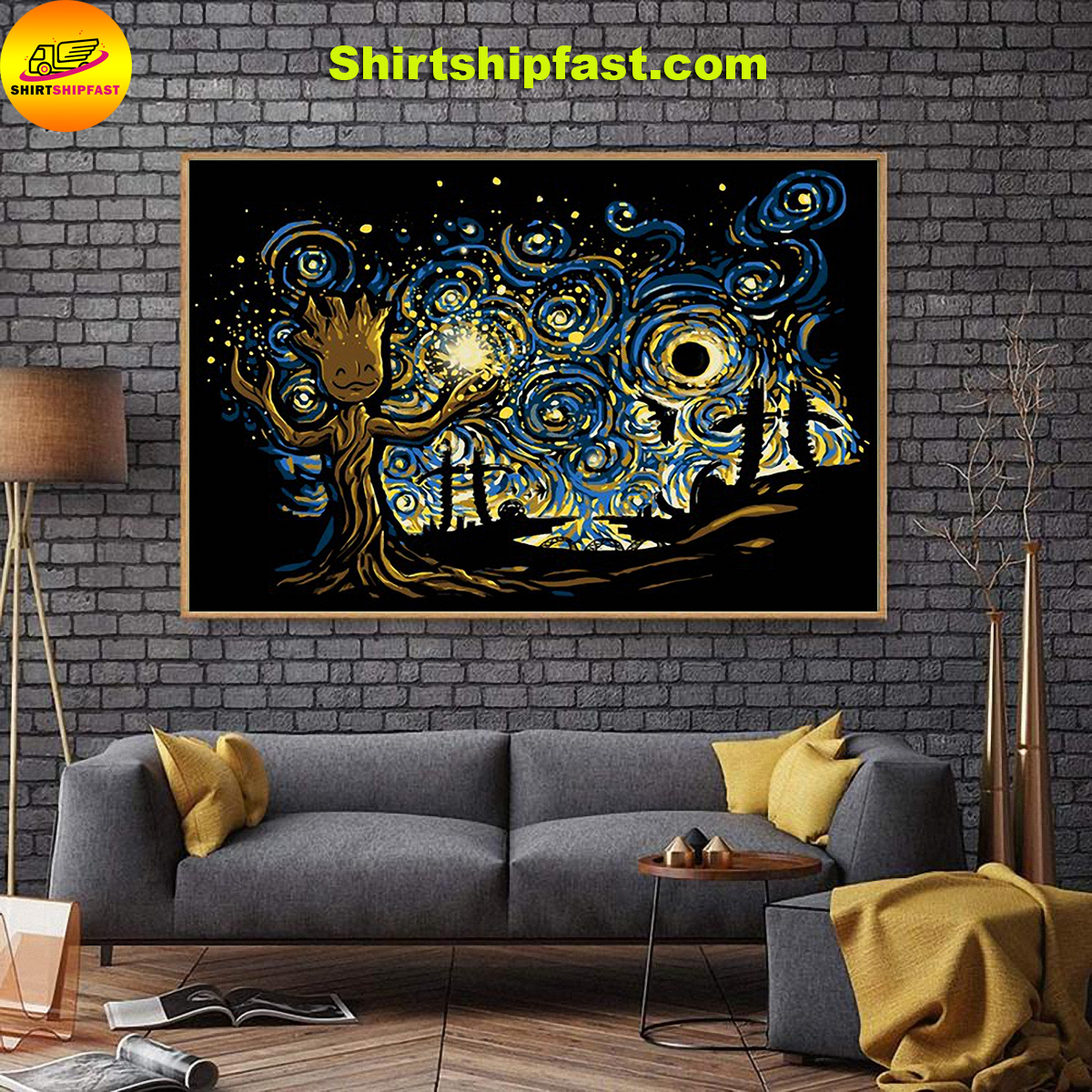 Baby groot starry night poster - Picture 3