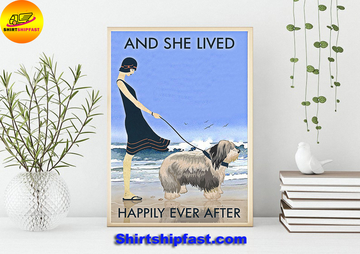 Beach old english sheepdog and she lived happily ever after poster - Picture 1