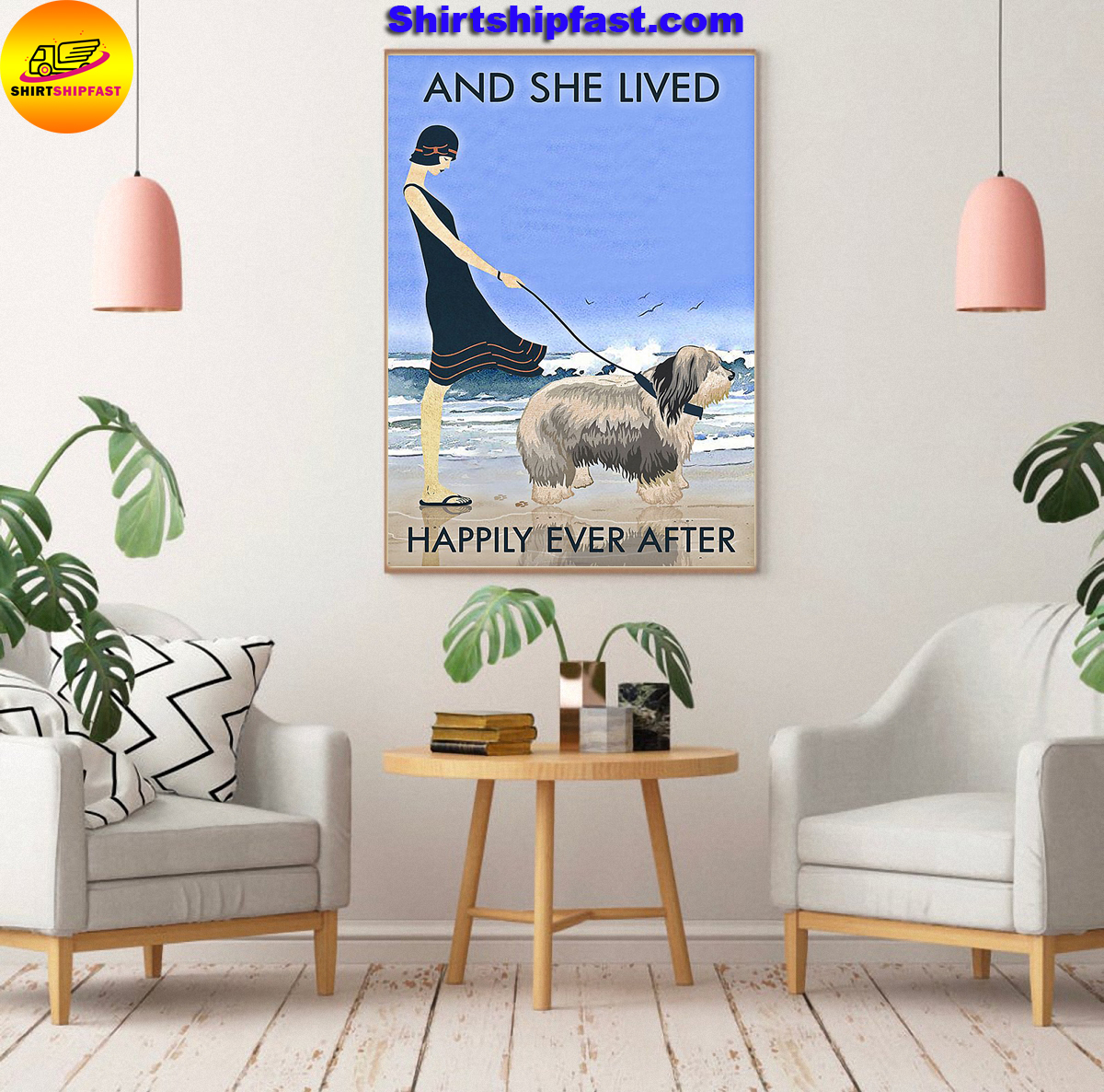 Beach old english sheepdog and she lived happily ever after poster - Picture 3
