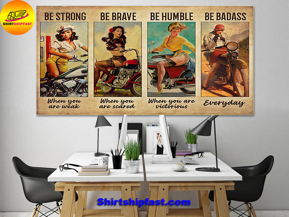 Bicycle girl be strong be brave be humble be badass poster - Picture 3