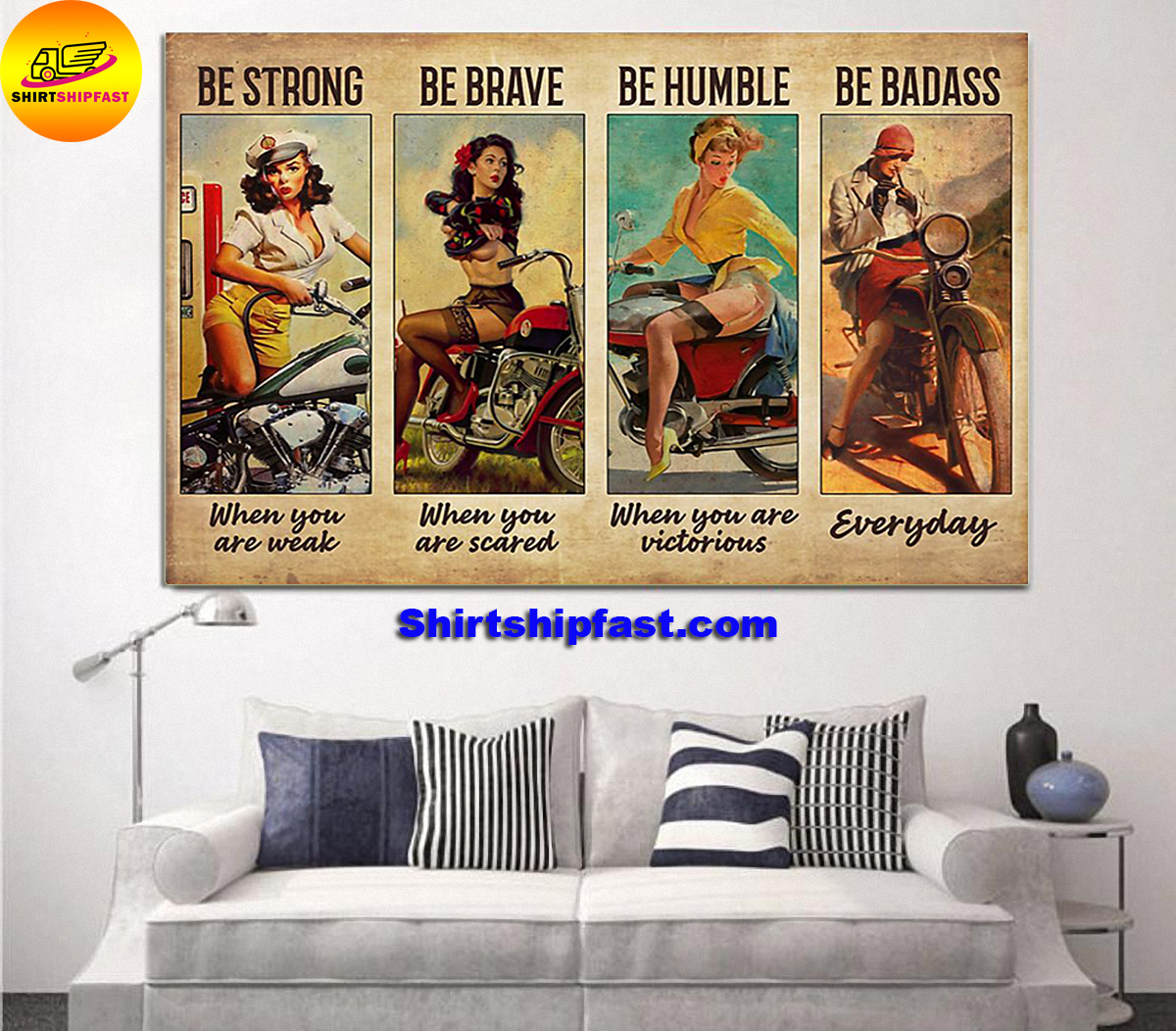 Bicycle girl be strong be brave be humble be badass poster