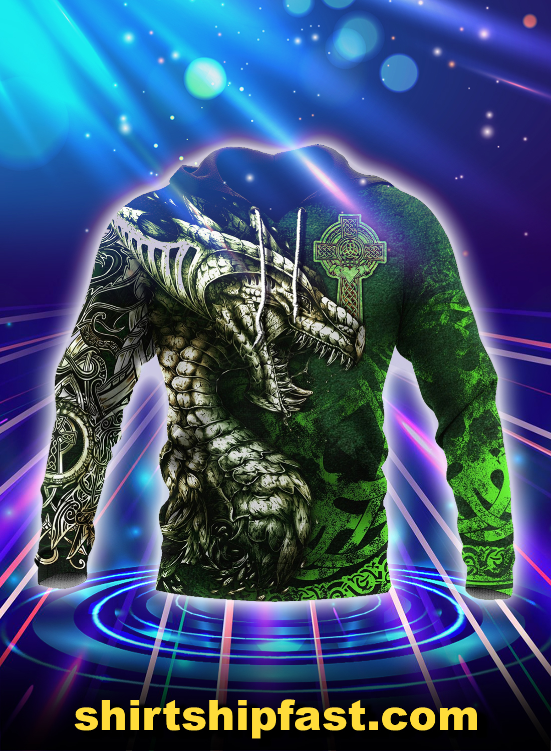 Celtic dragon tattoo 3d all over printed hoodie