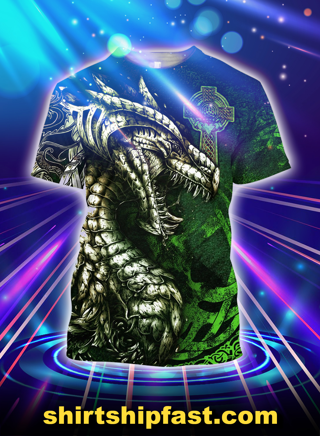 Celtic dragon tattoo 3d all over printed t-shirt