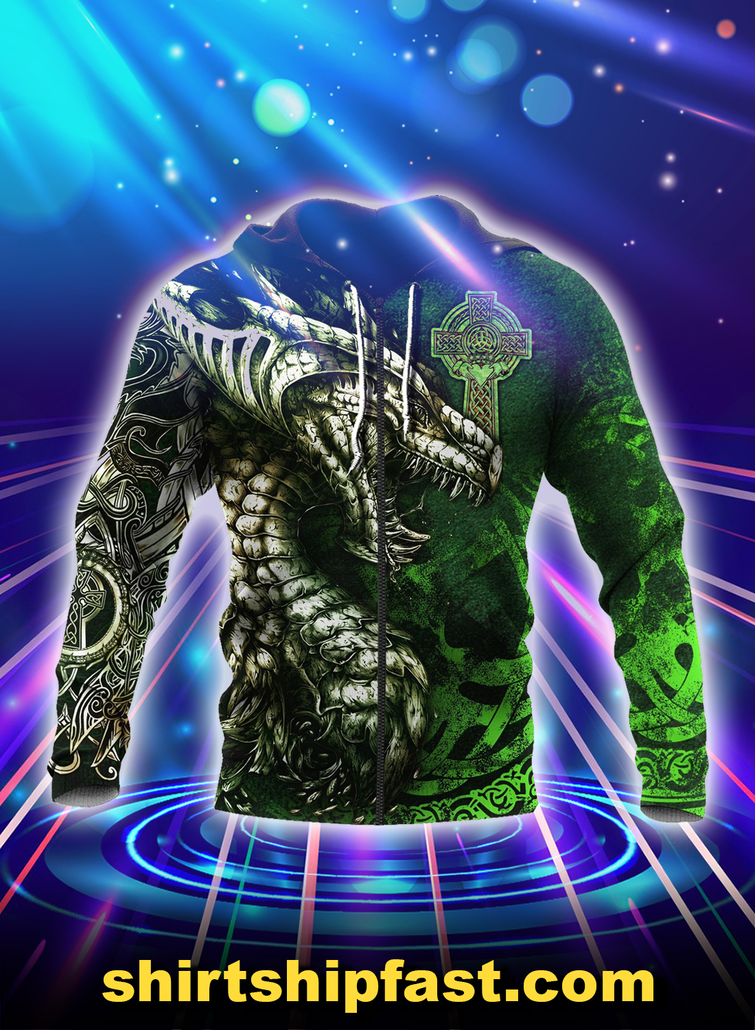 Celtic dragon tattoo 3d all over printed zip hoodie