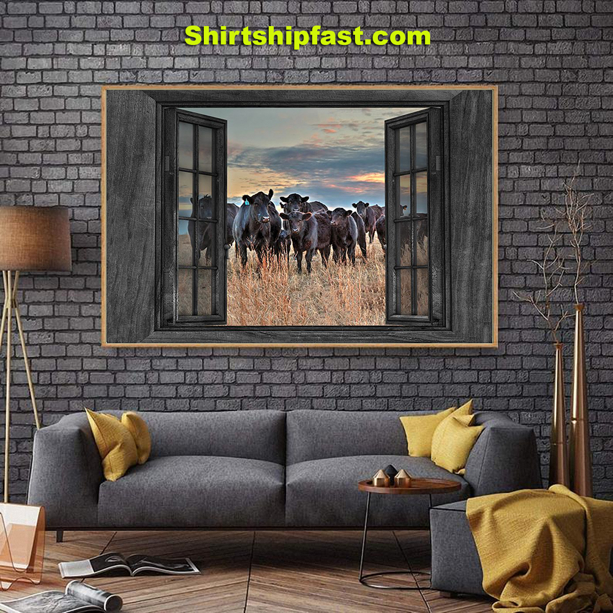 Cows by the window canvas prints - Picture 1