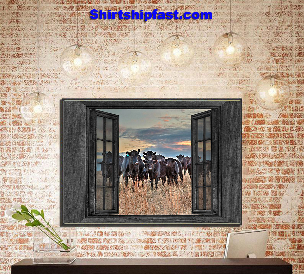 Cows by the window canvas prints