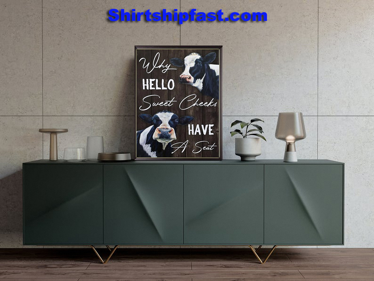 Dairy cattle why hello sweet cheeks have a seat canvas prints - Picture 2