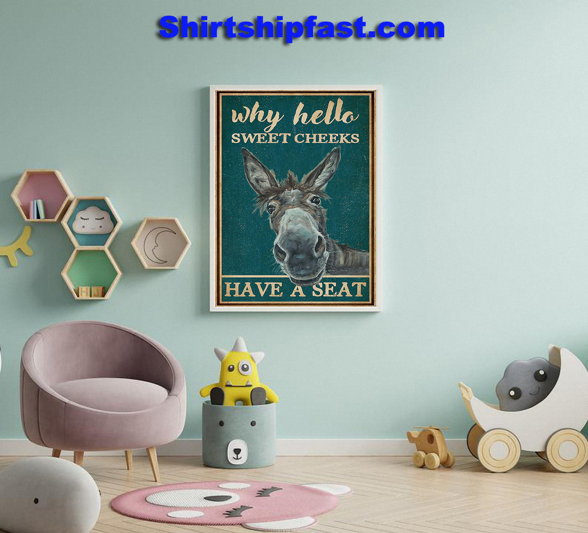 Donkey bathroom why hello sweet cheeks poster - Picture 2